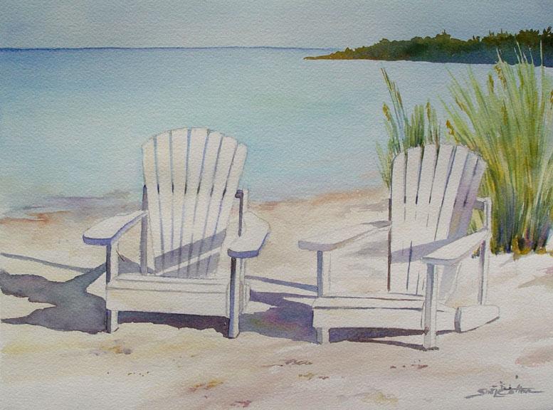 White Adirondack Chairs Beach In maine, sitting at the